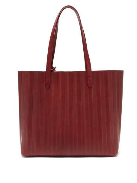 Mansur Gavriel - Pleated Leather Tote Bag - Womens - Burgundy