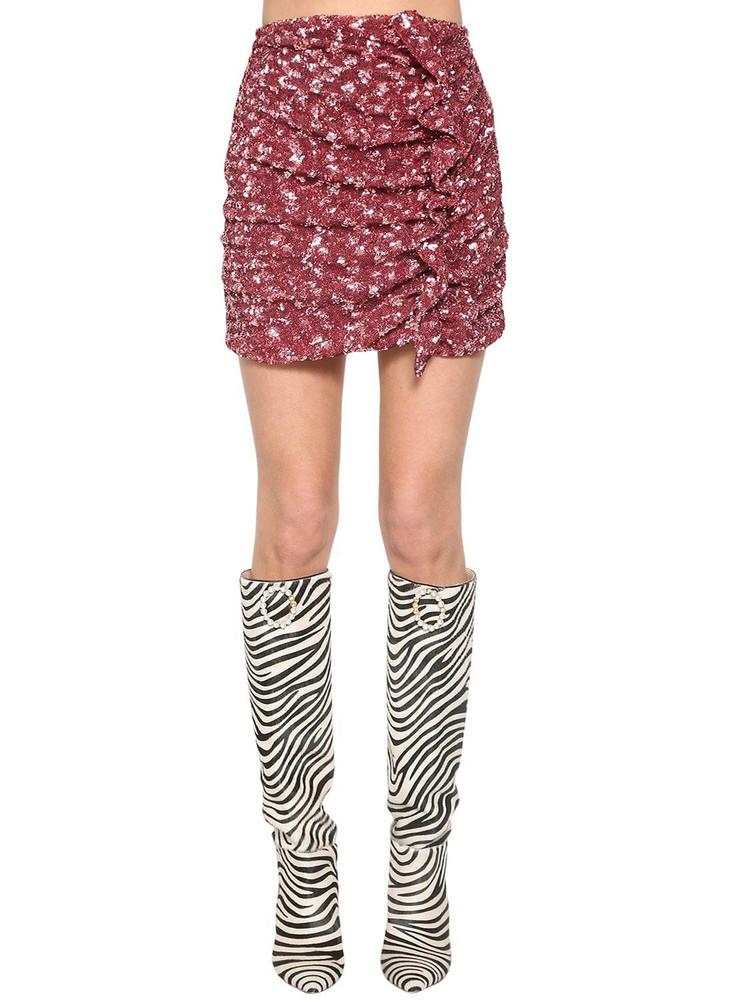 GIUSEPPE DI MORABITO Sequined Ruffle Mini Skirt in pink