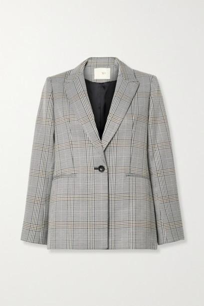 Maje - Checked Woven Blazer - Gray