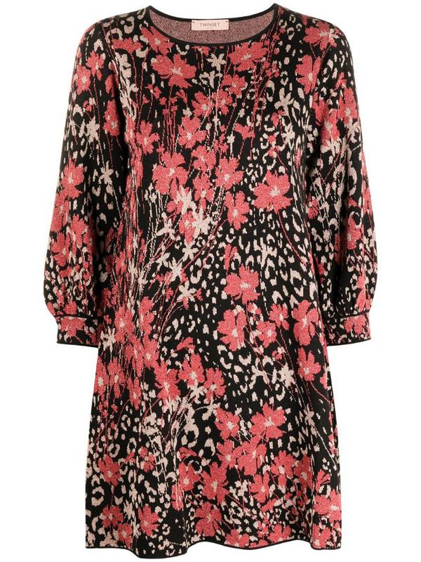 Twin-Set floral-print shift dress in black