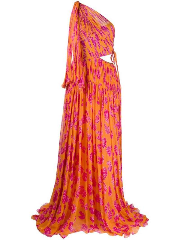 Maria Lucia Hohan Matilda printed one-shoulder gown in orange