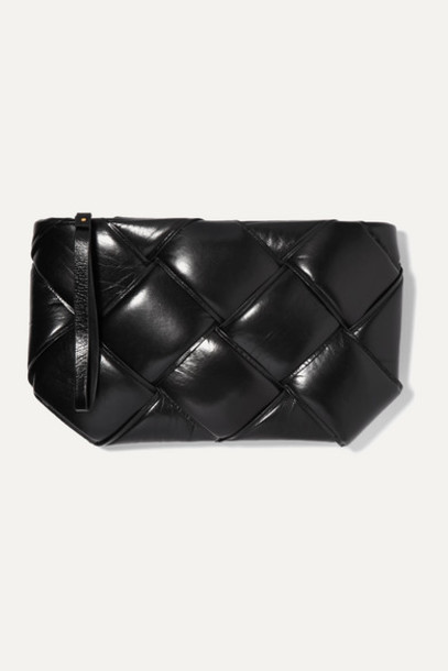 Bottega Veneta - Pouch Padded Intrecciato Textured-leather Clutch - Black