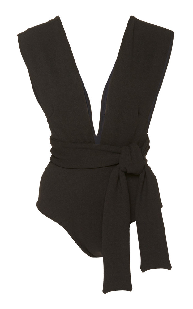Haight Tie-Waist V-Neck Crepe One Piece Swimsuit in black