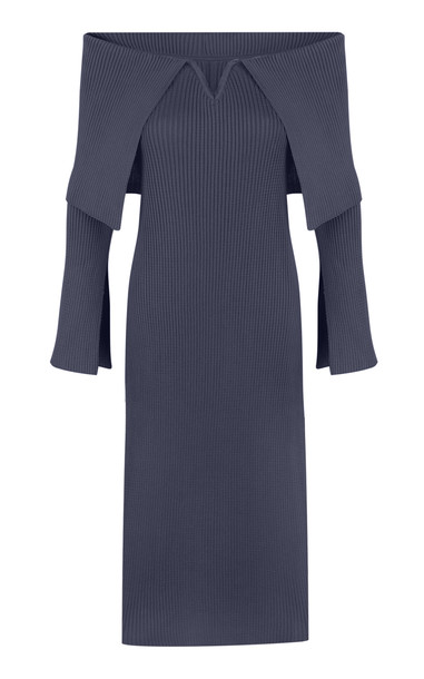 BEVZA Ribbed Knit Off-The-Shoulder Dress in grey