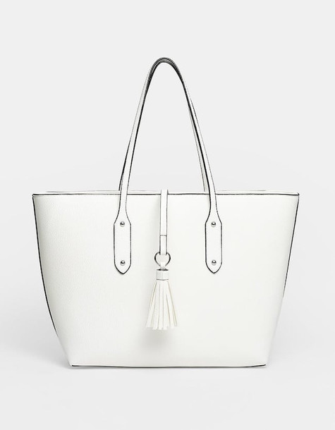 Stradivarius Casual Tote Bag In White
