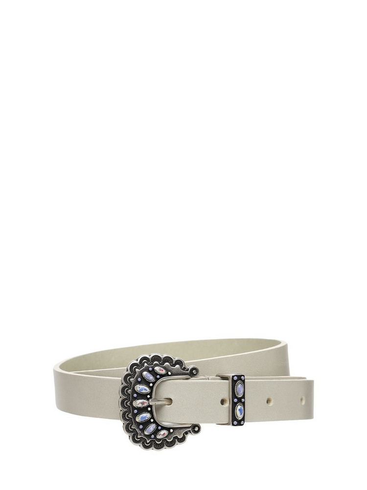 ISABEL MARANT 20mm Temoia Leather Belt in silver