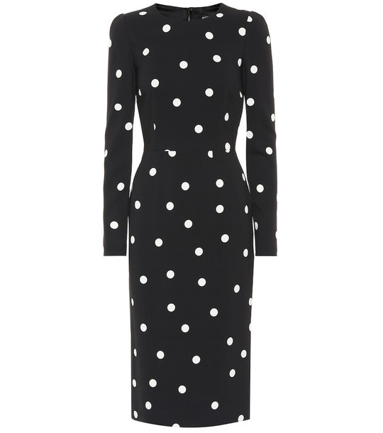 Dolce & Gabbana Dotted crêpe midi dress in black