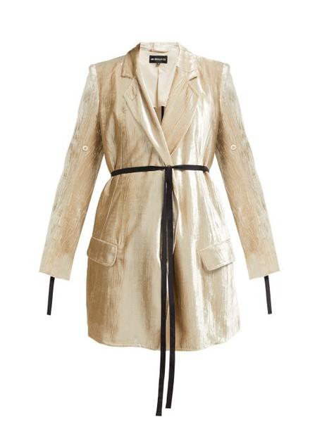 Ann Demeulemeester - Waist Tie Longline Crushed Velvet Blazer - Womens - Beige