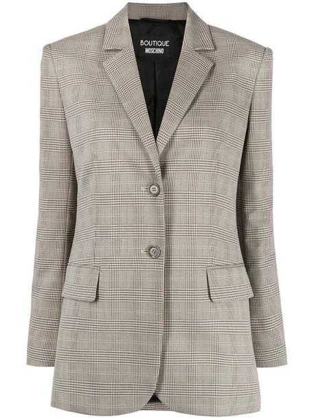 Boutique Moschino check pattern single-breasted blazer in neutrals