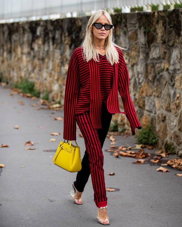 pants striped pants striped sweater sandal heels yellow bag