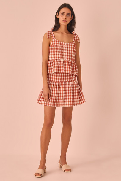 THE FIFTH NOUVEAU CHECK SKIRT rust w white