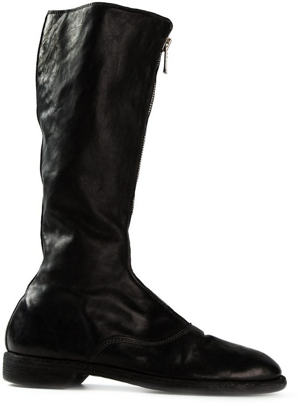 Guidi front zip boots in black