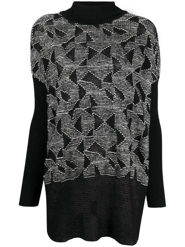 Pierantoniogaspari jacquard-knit dolman sleeve jumper in black