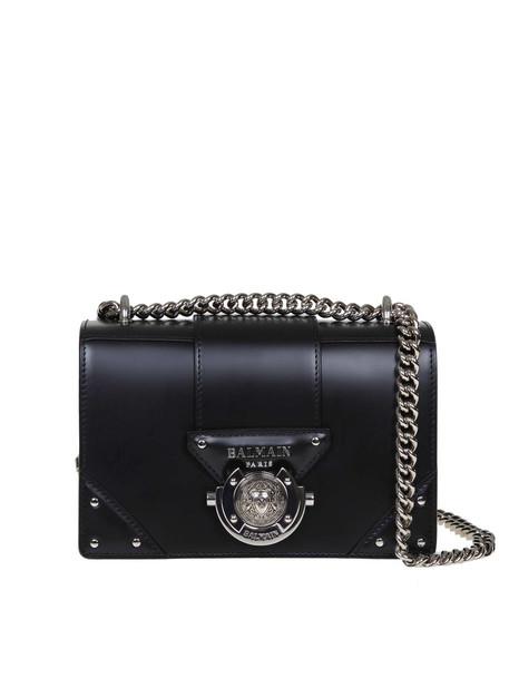 Balmain Black Ring Box Leather Bag