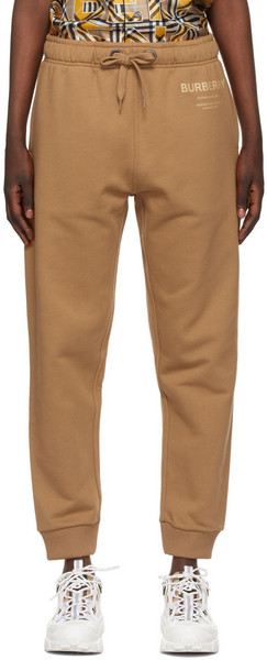 Burberry Brown 'Horseferry' Lounge Pants in camel