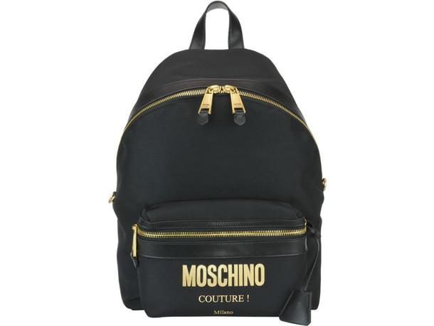 Moschino Logo Backpack in black / print