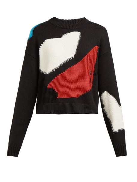 Proenza Schouler Pswl - Intarsia Patchwork Cotton Blend Sweater - Womens - Black Multi
