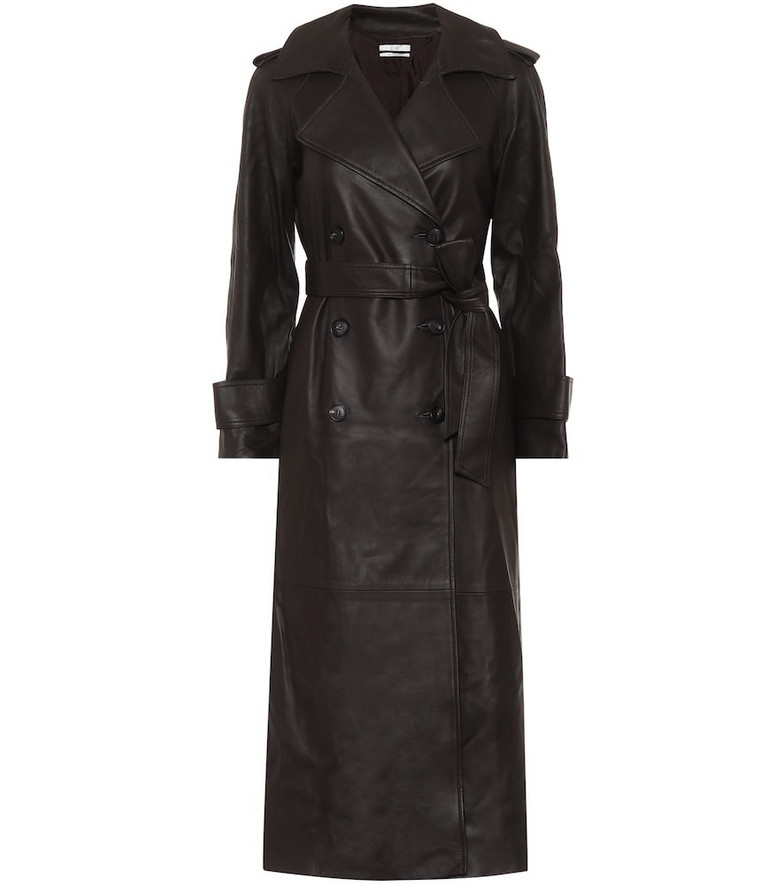 Co Leather trench coat in black