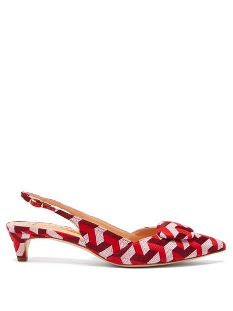 Rupert Sanderson - Misty Geometric Jacquard Kitten Heels - Womens - Red Multi