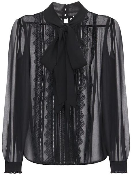 SELF-PORTRAIT Sheer Chiffon Shirt W/ Self-tie Collar in black