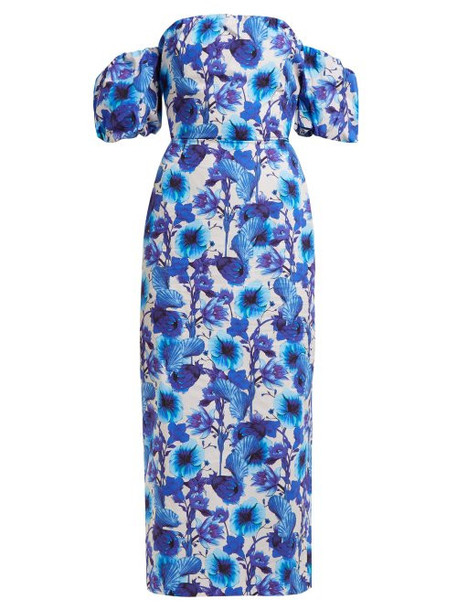 Borgo De Nor - Adelita Floral Print Cotton Dress - Womens - Blue White