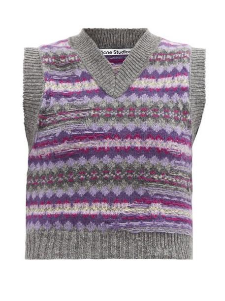 Acne Studios - Korina Sleeveless Fair Isle Wool Sweater - Womens - Grey Multi