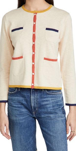 Alex Mill Abby Boxy Cardigan in ivory / multi