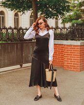dress,black dress,slip dress,loafers,bucket bag,shirt