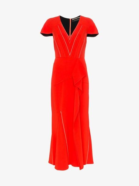 Roland Mouret Bates stretch V-neck ruffle detail dress in red