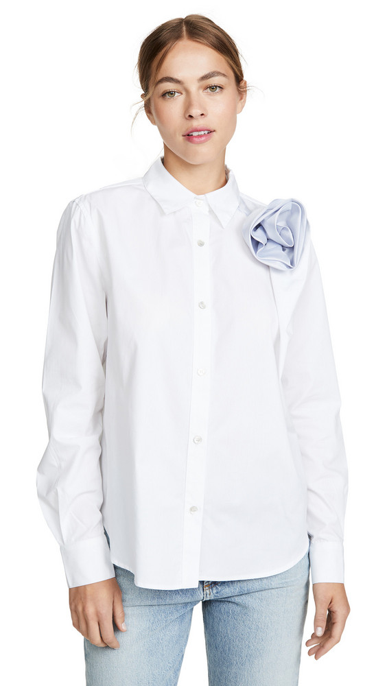 Clu Shirt With Contrast Ruched Flower Detail in blue / white