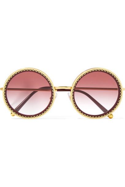 Dolce & Gabbana - Round-frame Acetate And Gold-tone Sunglasses - Claret