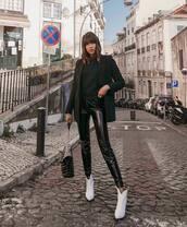 pants,black pants,black vinyl pants,white boots,ankle boots,black bag,black blazer,black hoodie