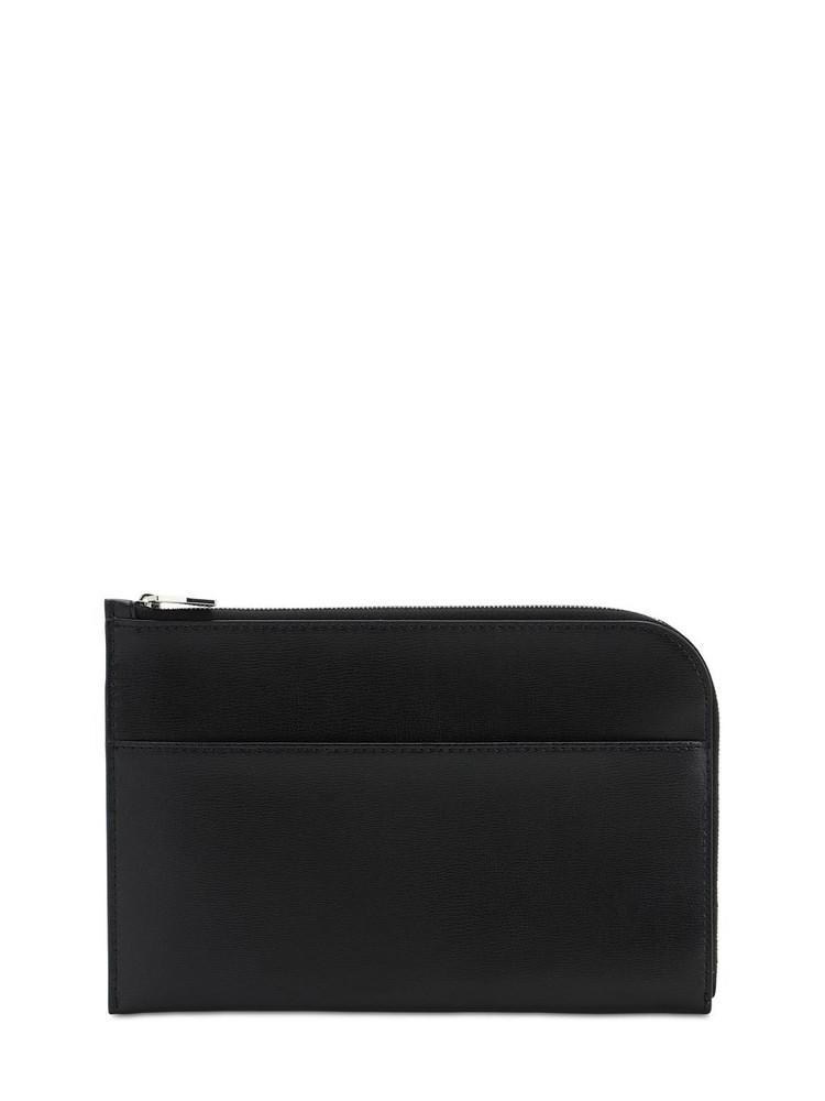 GANNI Smooth Leather Clutch in black