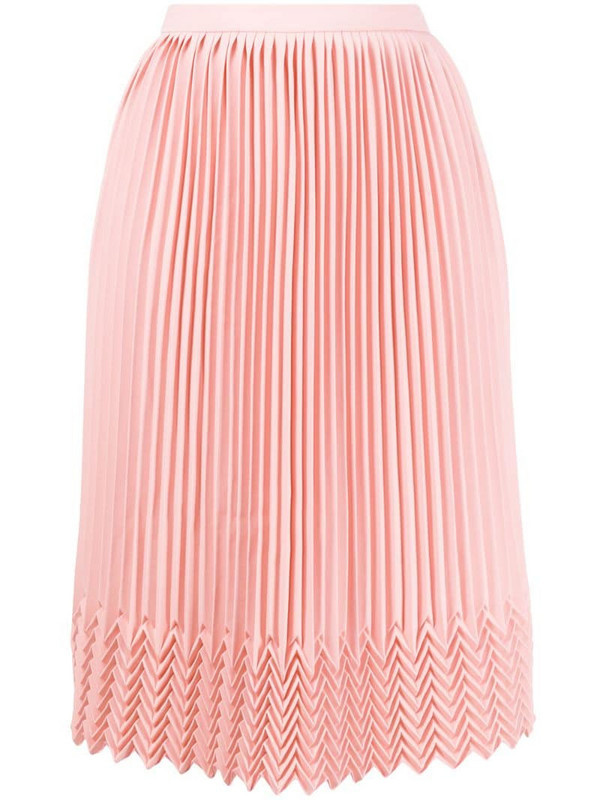 Marco De Vincenzo chevron detail pleated skirt in pink