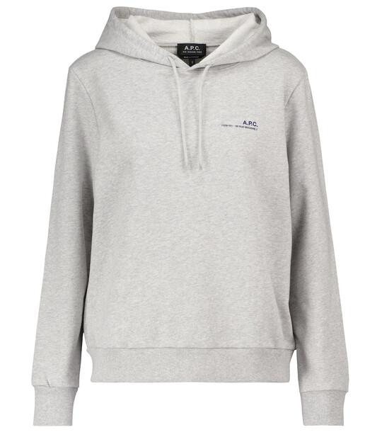A.P.C. Logo stretch-cotton hoodie in grey