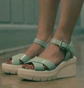shoes,lana condor,wedges,green,blue,teal,sandals