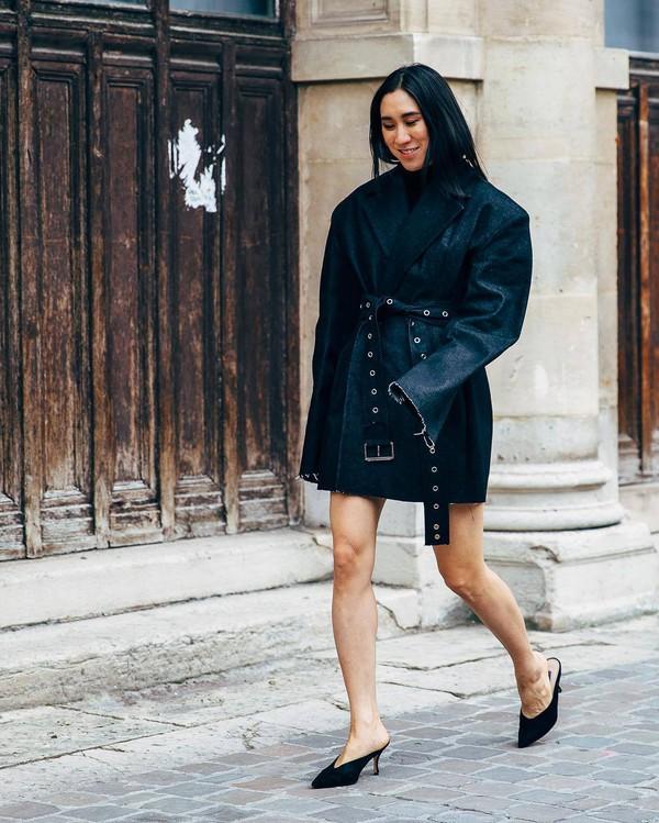 shoes mules denim jacket blazer oversized black turtleneck top