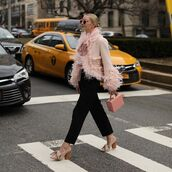 jacket,cropped jacket,pink jacket,marc jacobs,pumps,straight pants,black pants,handbag,pink bag