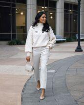 sweater,white sweater,turtleneck sweater,white pants,ballet flats,white bag