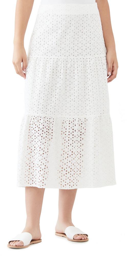 MINKPINK Juliana Anglaise Midi Skirt in white
