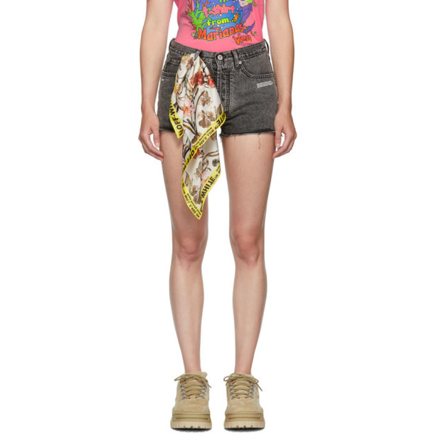 Off-White Grey Bleached Silk Scarf Shorts
