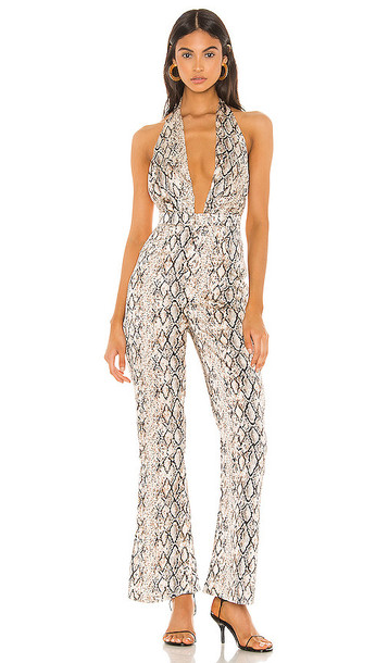 superdown Yasmin Halter Jumpsuit in Tan