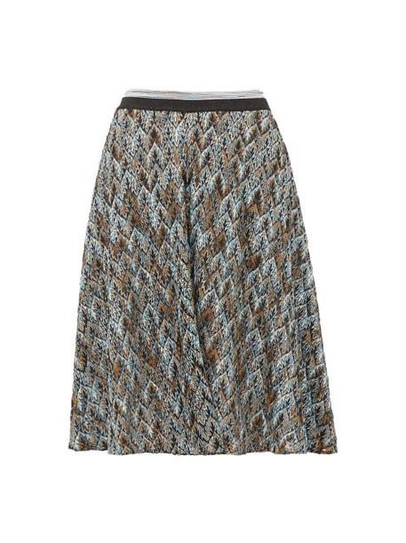 Missoni - Metallic Diamond-knit Skater Skirt - Womens - Blue Multi
