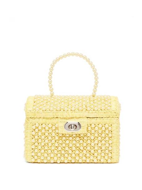 Shrimps - Gaia Faux Pearl Treasure Chest Handbag - Womens - Pale Yellow