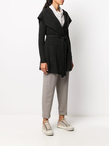 Gentry Portofino cashmere knit robe cardi-coat in grey