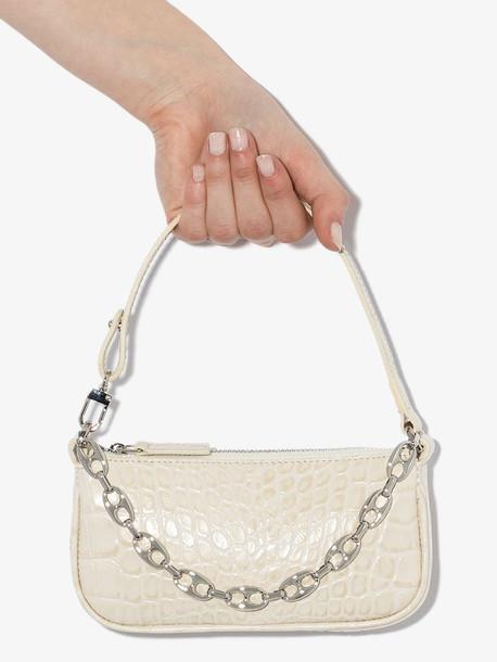 BY FAR white mini Rachel mock croc leather shoulder bag