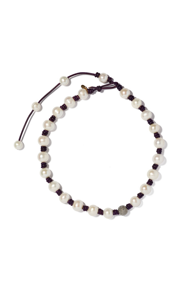 Joie DiGiovanni Diamond-Accented Pearl And Leather Necklace in white