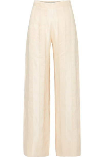 ARJÉ ARJÉ - Striped Linen-blend Jacquard Wide-leg Pants - Ivory