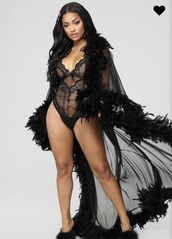 underwear,sheer,robe,feather trim,black robe,sexy,lingerie,outerwear