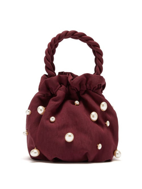 Staud - Grace Faux Pearl Embellished Twill Bag - Womens - Burgundy